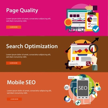 website promotion banners design in horizontal colored style