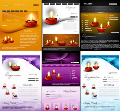 website template beautiful happy diwali colorful hindu festival background