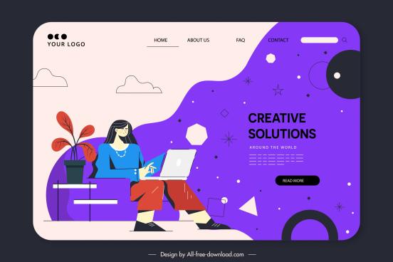 website template working woman sketch dark classic design
