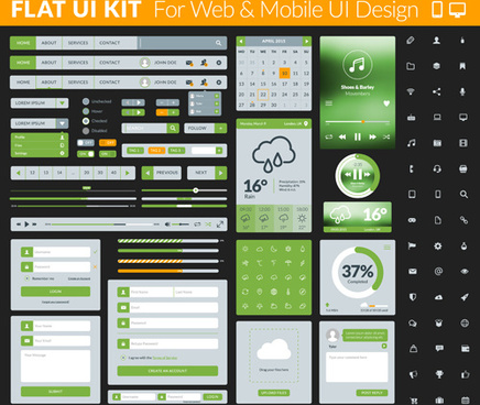 website with mobile flat ui design vector