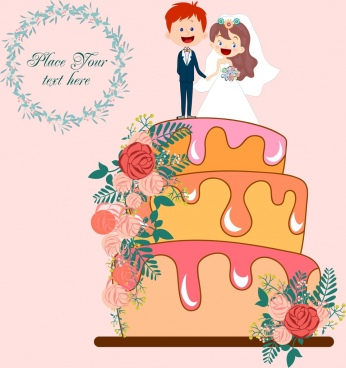 wedding background decorative cream cake icon