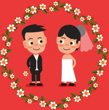 wedding background groom bride flower wreath icons