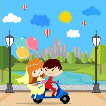 wedding background with groom and bride riding motorcycle