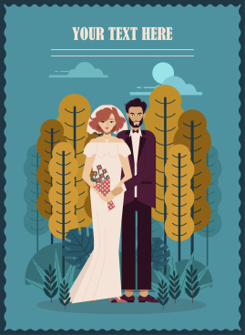 wedding banner classic design couple icon cartoon characters