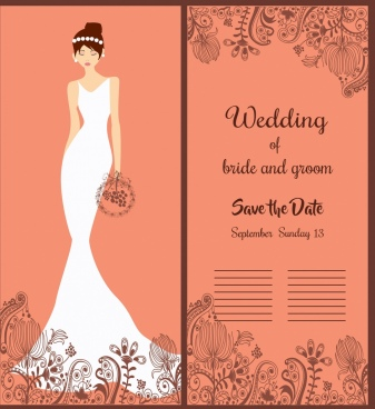 wedding banner elegant bride icon classical decor