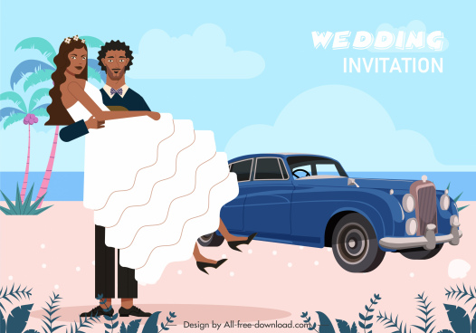 wedding banner template happy marriage couple cartoon design