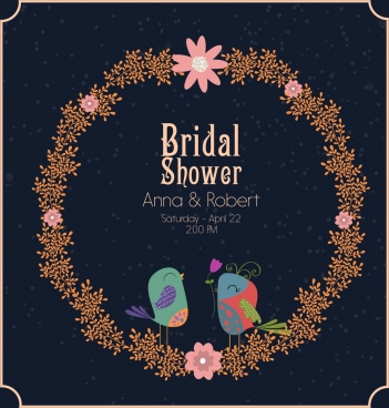 wedding banner template wreath birds icon cartoon design