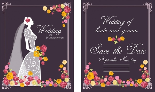 wedding card bride flowers design on dark background
