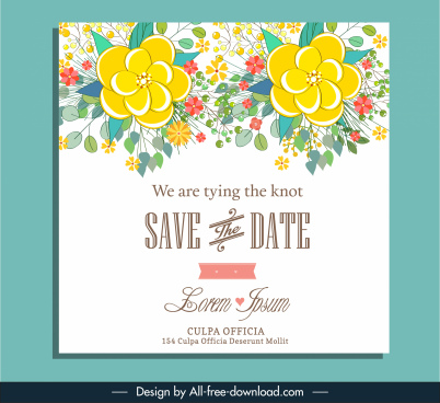 wedding card cover template elegant classical floral decor