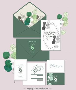 wedding card decor elements retro elegant handdrawn leaves