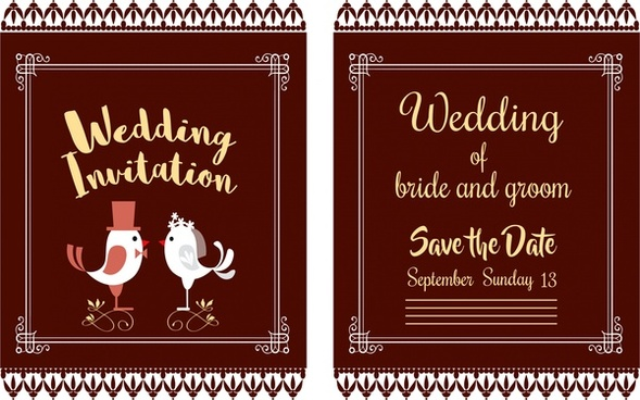 wedding card design classical style with birds couple