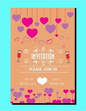 wedding card design classical style with colorful hearts