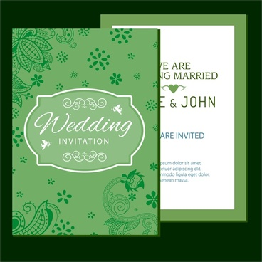 wedding card design classical style with flowers design