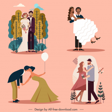 wedding card design elements classic marriage couples sketch