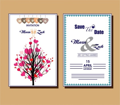 wedding card design hearts tree and white background