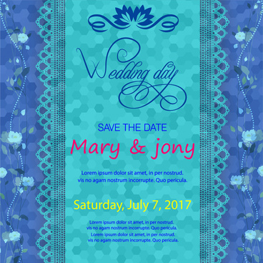 wedding card design on blurred blue background