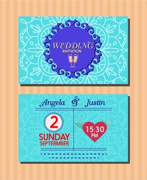 wedding card design vignette design in blue
