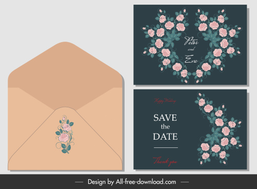 wedding card envelope template elegant flora decor