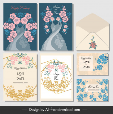 wedding card envelope templates elegant classic flowers decor