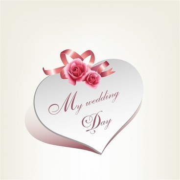 Wedding card heart shape with rose and pink ribbon