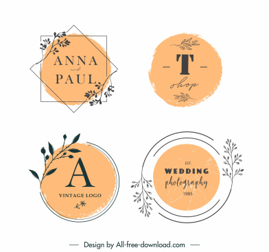 wedding card logo templates elegant retro handdrawn plants