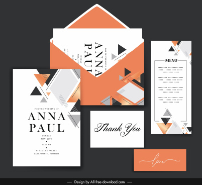 wedding card menu templates elegant flat triangles decor