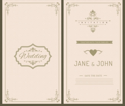 wedding card template black white retro ornament