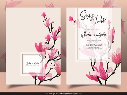 wedding card template blooming floras decor retro design