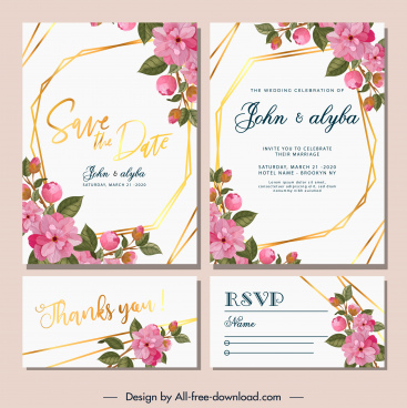 wedding card template blooming flowers decor