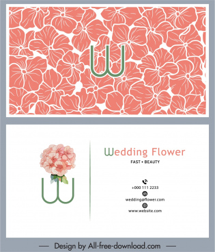 wedding card template botanical petals sketch handdrawn classic