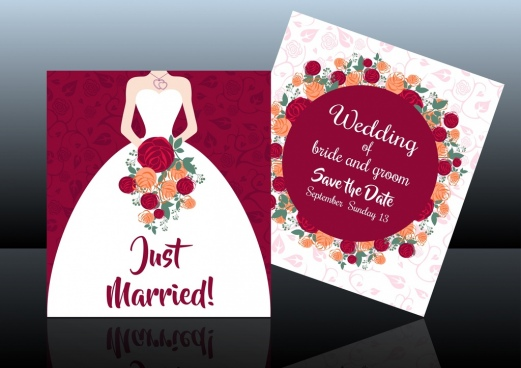 wedding card template bride icon colorful roses decoration