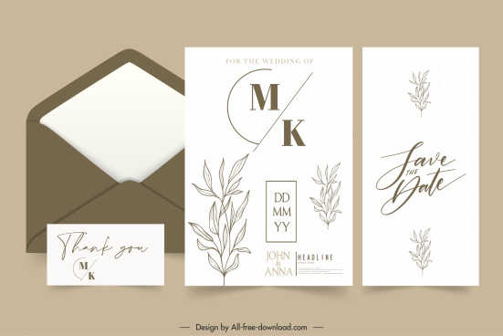 wedding card template bright classic design handdrawn leaves
