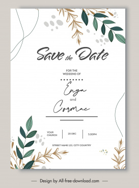 wedding card template bright classic leaves decor