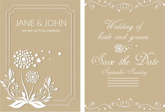 wedding card template brown design classical decoration
