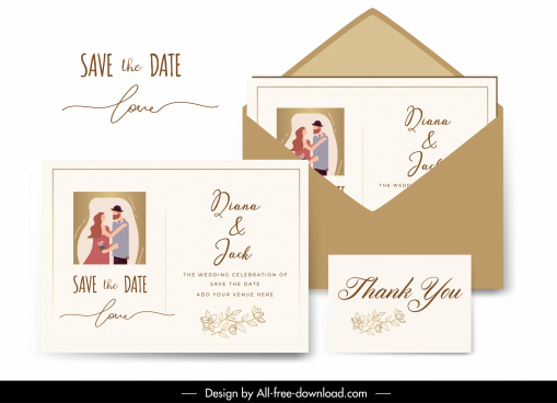wedding card template classic design marriage couple decor