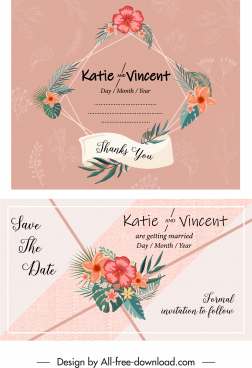 wedding card template classical colorful flora decor