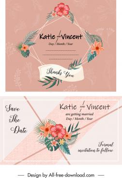 wedding card template classical colorful flora decor
