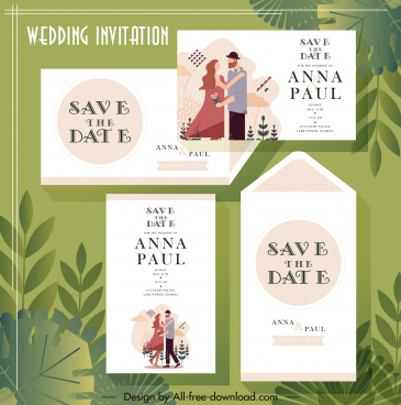 wedding card template classical couple decor