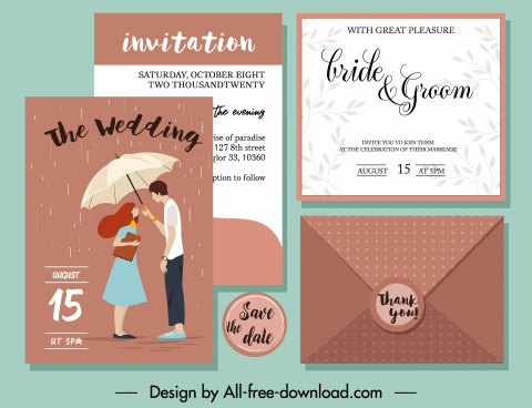 wedding card template classical design couple rain icons