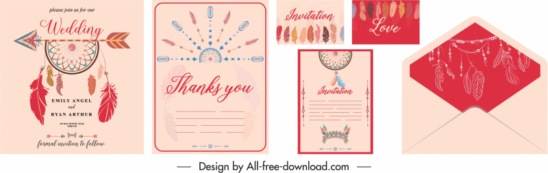 wedding card template classical dream catcher decor