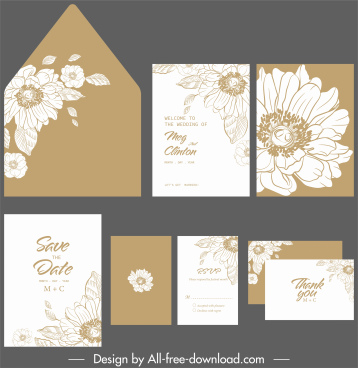 wedding card template classical elegant botanical decor