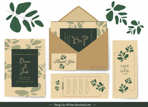 wedding card template classical elegant green leaf decor