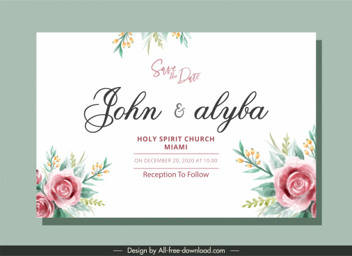 wedding card template classical elegant handdrawn floral decor