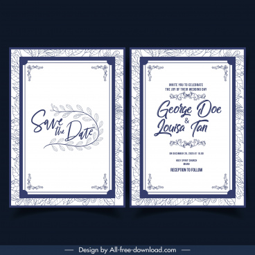 wedding card template classical elegant simple decor floral backdrop