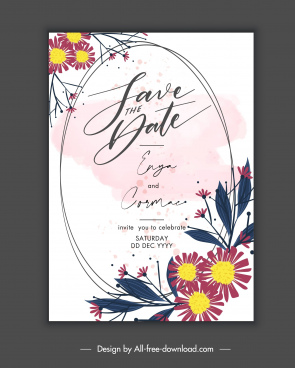 wedding card template classical petal handdrawn decor