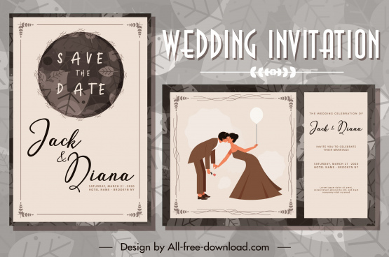 wedding card template classical romance couple sketch