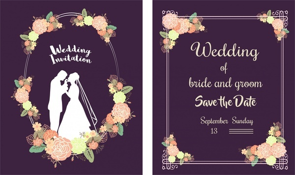 Wedding card design template free vector download 23465 free wedding card template classical style floral violet background stopboris Images