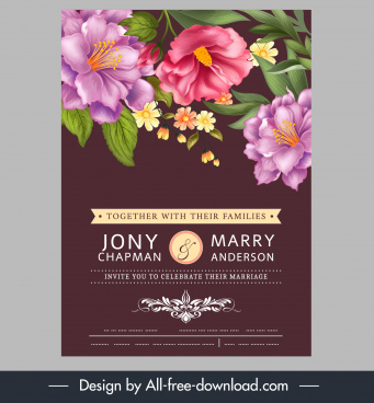 wedding card template colorful elegant booming flora decor
