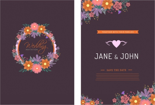 wedding card template colorful floral ornament