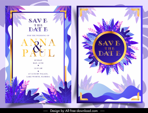 wedding card template colorful leaves decor classic design
